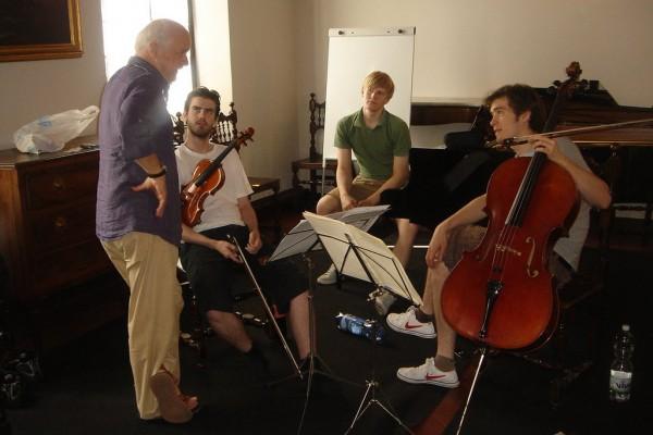 Mit Guenter Pichler (Alban Berg Quartett) in Siena, Italien